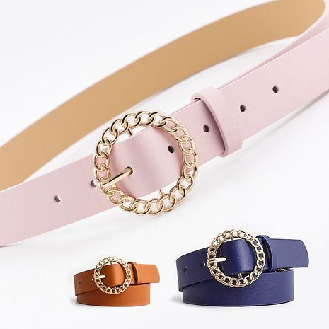 New personality round buckle belt women fashion casual decoration jeans dress ladies belt NHPO200424's discount tags