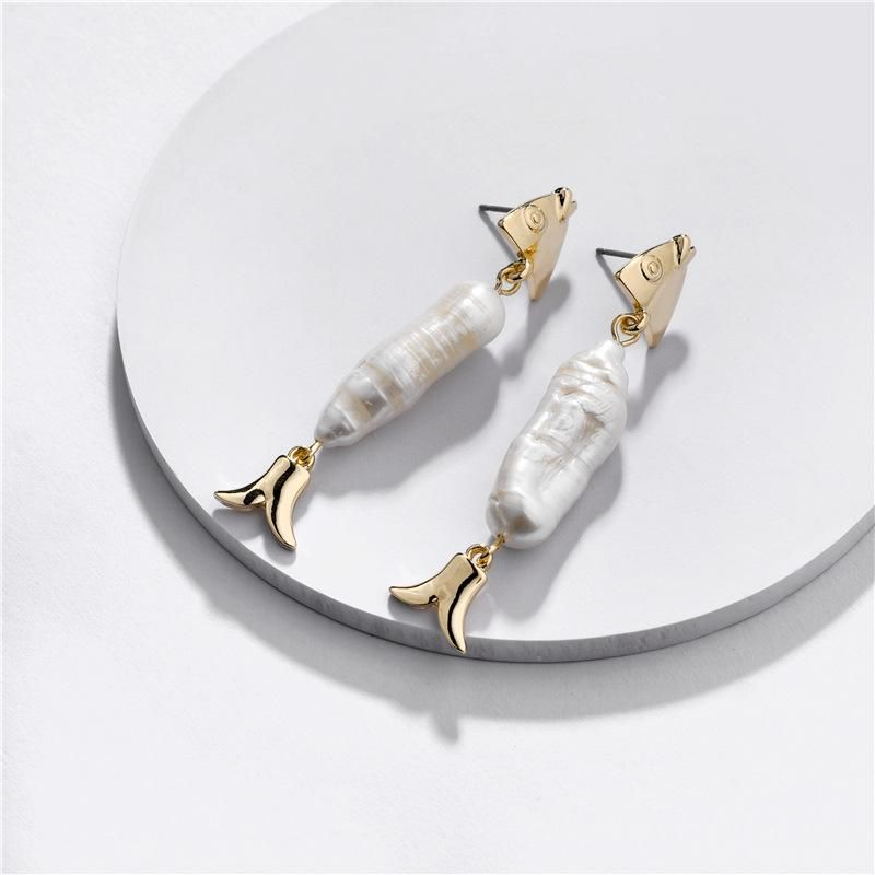 Fashion women's earring wholesale alloy natural shell pearl fish female earrings new NHLU200430
