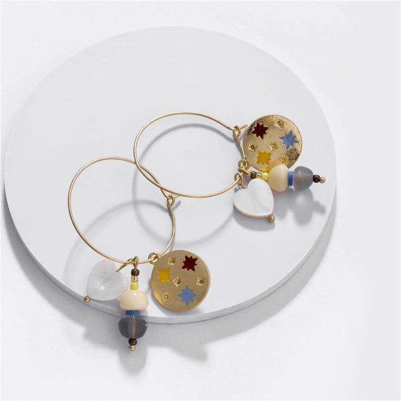 Fashion women's earring wholesale alloy color drop oil star natural pearl shell pendant earrings NHLU200435