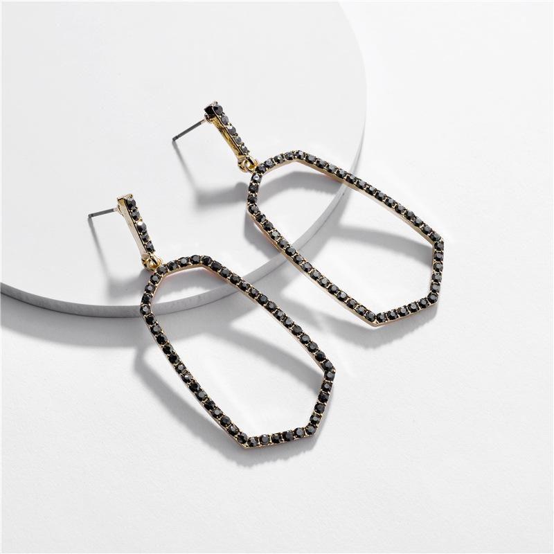 Fashion women's earring wholesale alloy hollow geometric gem diamond female earrings new NHLU200440