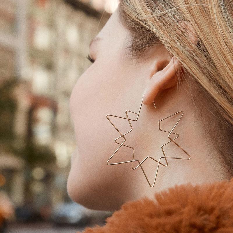 Fashion women's earring wholesale copper double-layer five-star hollow female earrings new earrings NHLU200441