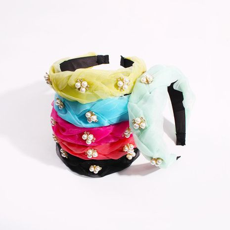 Fashion Light Gauze and Diamond Color Headband Imitation Pearl Headband Hair Accessories Wholesale NHMD200444's discount tags