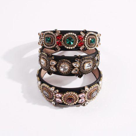 Women's vintage glass diamond wide-band hair hoop court style colorful diamond gem headband NHMD200445's discount tags