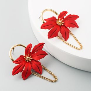 Pendientes de flores de hoja hueca en forma de hoja de arce de moda Pendientes de borla de cadena de aleación NHLN200449's discount tags