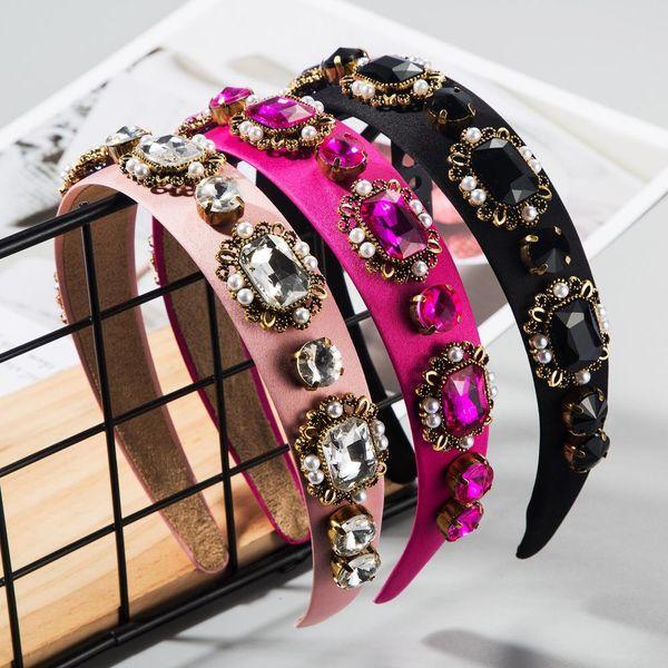 Nuevo retro barroco perla cabello aro corte estilo diamante diadema accesorios para el cabello femenino NHLN200451