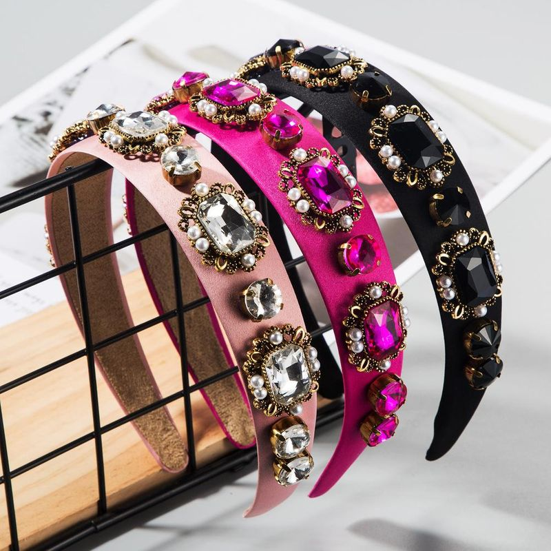 New retro baroque pearl hair hoop court style diamond headband female hair accessories NHLN200451
