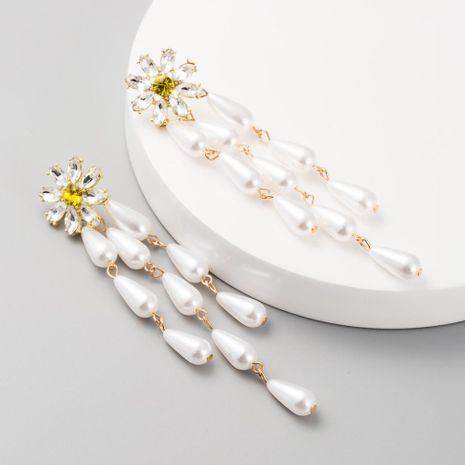 Fashion long tassel earrings female alloy pearl earrings diamond creative flower retro earrings NHLN200452's discount tags