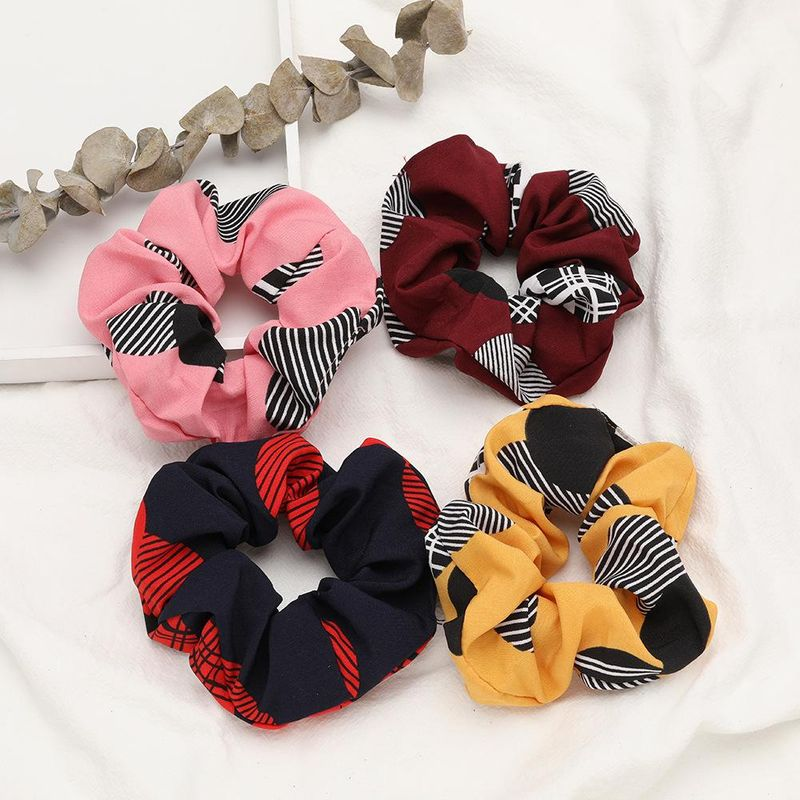 Fashion black stripe cloth fabric Korean hair ring simple wild hair rubber band wholesale NHJE200456