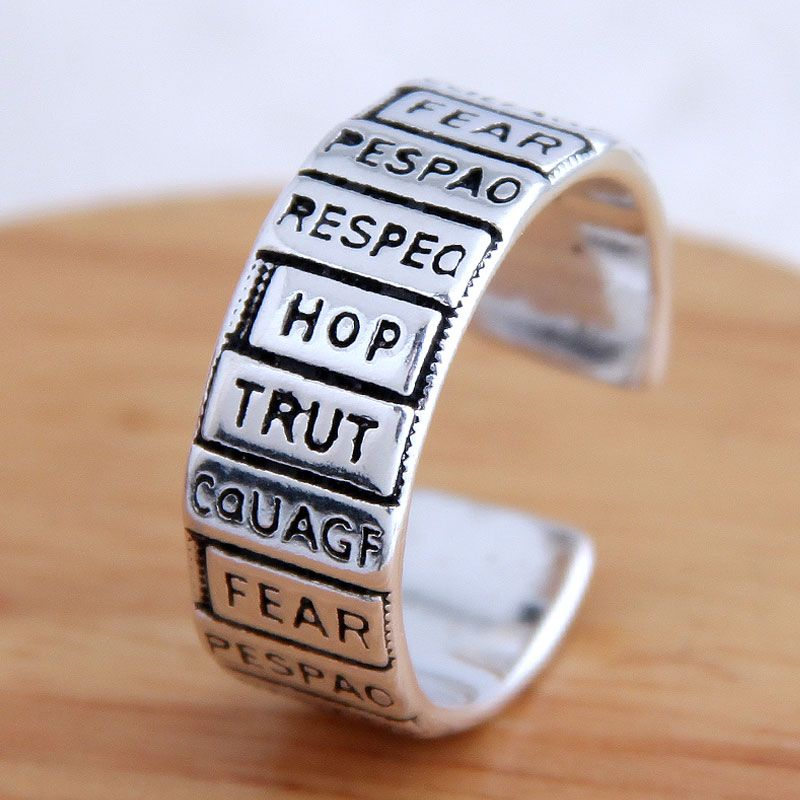 Fashion jewelry retro letter exaggerated open ring wholesale NHSC200909