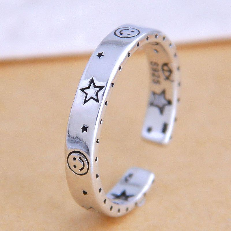 Fashion jewelry fashion retro star split ring simple ring wholesale NHSC200903