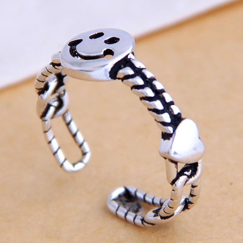 Fashion Retro Joker Smiley Heart Open Ring Fahsion jewelry Wholesale NHSC200896