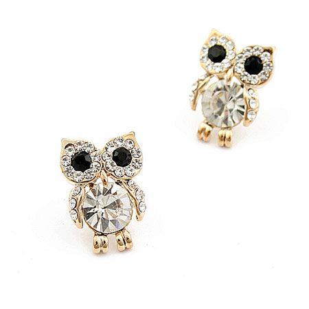 Boutique Korean Flash Diamond Sweet Owl Earrings Fahsion jewelry Wholesale NHSC200894