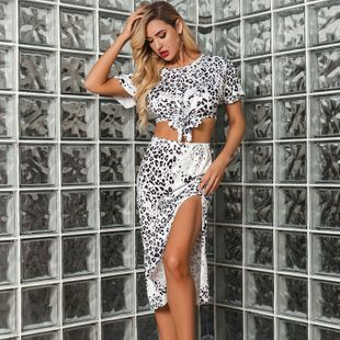 Fashion New Leopard Lace Up Slit Sexy Slim Suit Skirt Women's Wholesale NHDE201439's discount tags