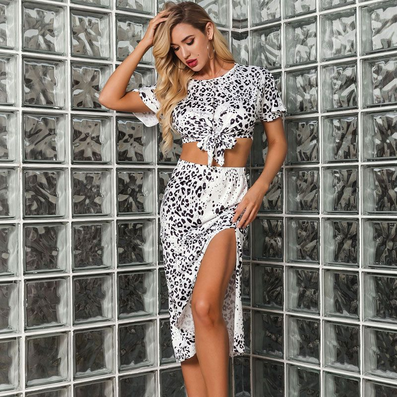 Fashion New Leopard Lace Up Slit Sexy Slim Suit Skirt Women's Wholesale NHDE201439