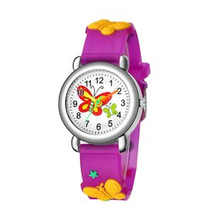 Children's watch cute butterfly pattern quartz watch color butterfly plastic band student watch NHSS200485's discount tags
