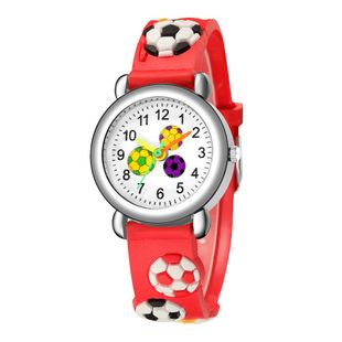 Children's cartoon watch embossed football pattern plastic band student watch NHSS200492's discount tags