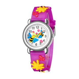 Cute bee flower pattern plastic band quartz watch printed color band female student children watch NHSS200494's discount tags