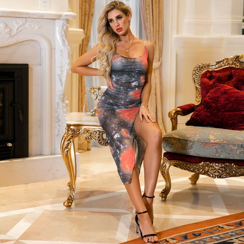Sexy tie-dye simple tight sling daily party dress women's wholesale NHDE201434