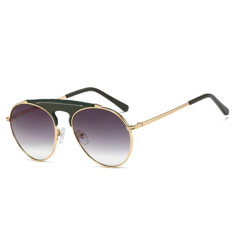 Fashion metal sunglasses leather decorative sunglasses retro round frame sunglasses men and women NHFY200462