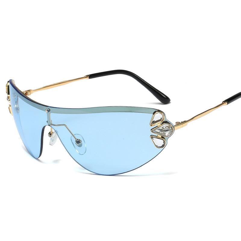 Metal frameless sunglasses female luxury diamond conjoined sunglasses street sunglasses NHFY200469