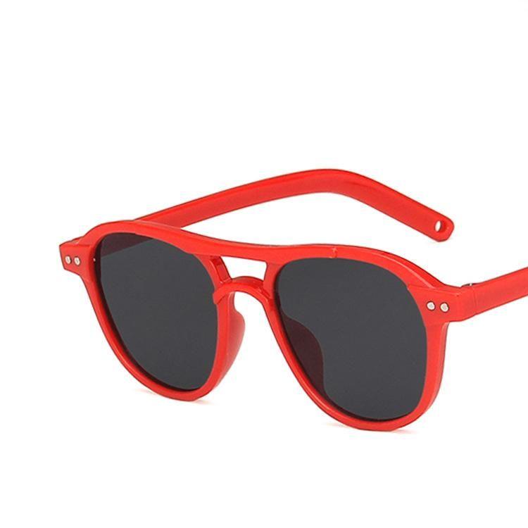 New double beam rice nail round children sunglasses boys and girls sunglasses wholesale NHKD200475