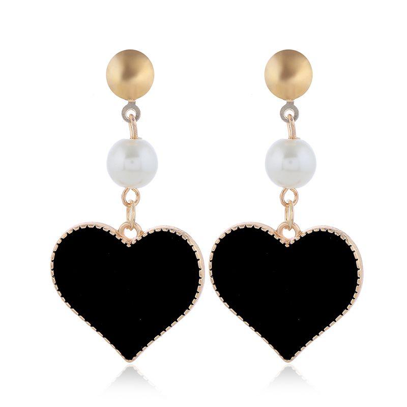 Korean fashion sweet contrast color love earrings Fahsion jewelry wholesale NHSC200883