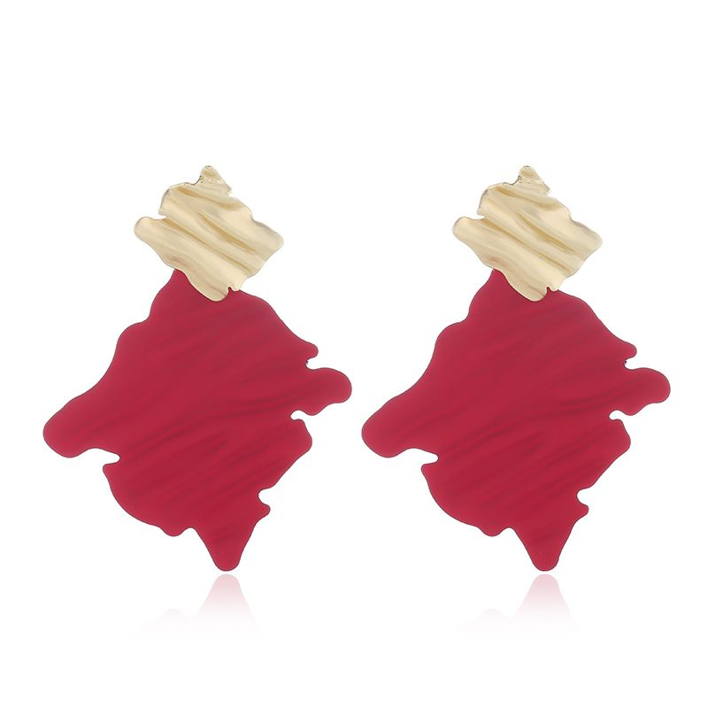 Korean fashion sweet contrast color wild geometric square temperament earrings NHSC200882