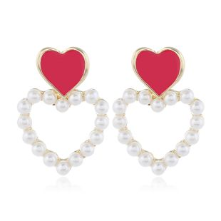 Korean fashion sweet contrast color OL love pearl earrings NHSC200881's discount tags