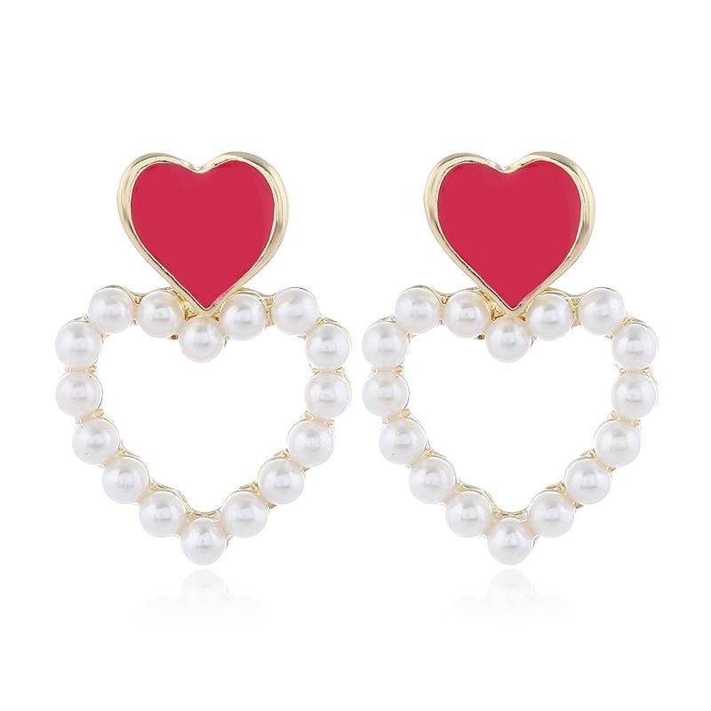 Korean fashion sweet contrast color OL love pearl earrings NHSC200881