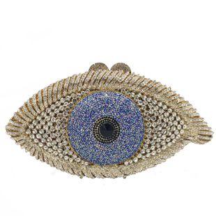 New Fashion Dinner Bag Eyes Diamond Party Bag Devil's Eye Rhinestone Clutch NHJU200502's discount tags