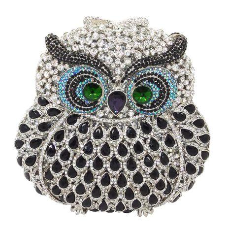 Fashion women's bag new fashion party clutch bag animal owl dinner bag rhinestone women bag NHJU200505's discount tags