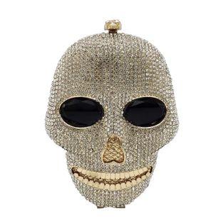 Fashion women's bag new skull banquet bag ghost head rhinestone evening bag clutch NHJU200508's discount tags