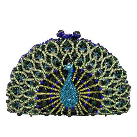 Fashion women's bag new metal peacock dinner bag rhinestone clutch bag ladies evening bag NHJU200509's discount tags