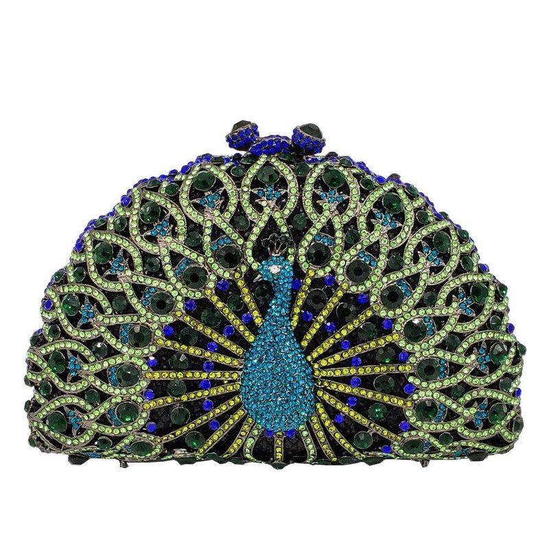 Fashion women's bag new metal peacock dinner bag rhinestone clutch bag ladies evening bag NHJU200509