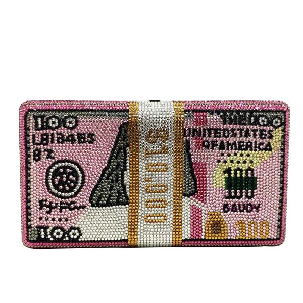 Fashion women's bag new fashion flat diamond pink dollar bag dollar clutch bag banquet bag NHJU200511