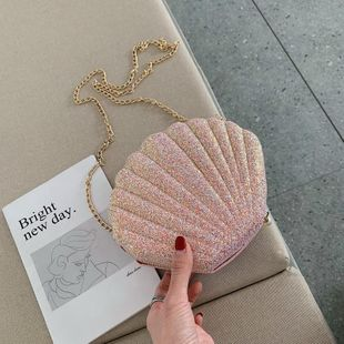 New Trend Fashion Korean Wild Messenger Bag Chain Shoulder Bag Sequin Shell Bag NHTC200543's discount tags