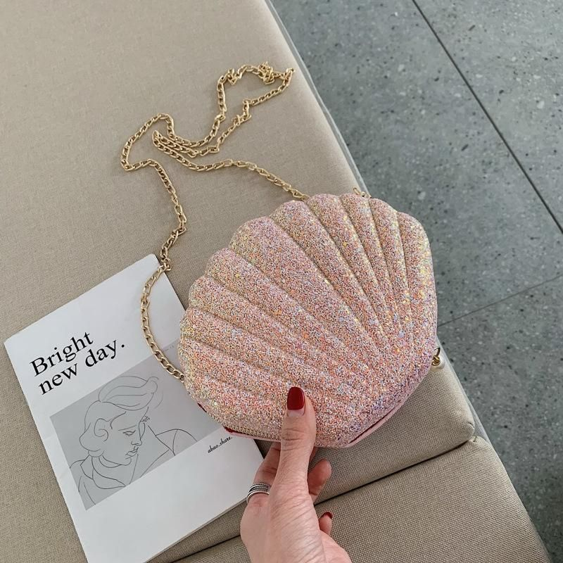 New Trend Fashion Korean Wild Messenger Bag Chain Shoulder Bag Sequin Shell Bag NHTC200543