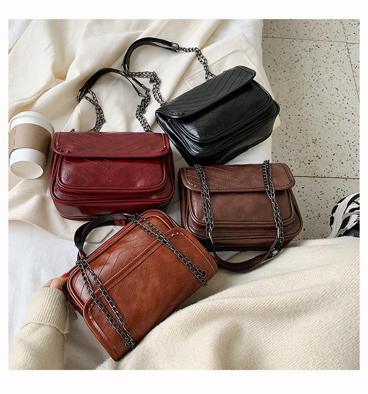 New fashion single shoulder diagonal bag small bag embroidery soft leather wild lady chain bag wholesale NHXC200591