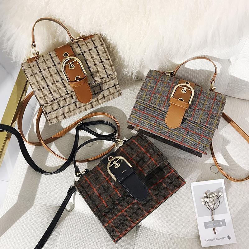 New women's bag cross-body wild lattice portable small square bag lock bag shoulder bag NHXC200594