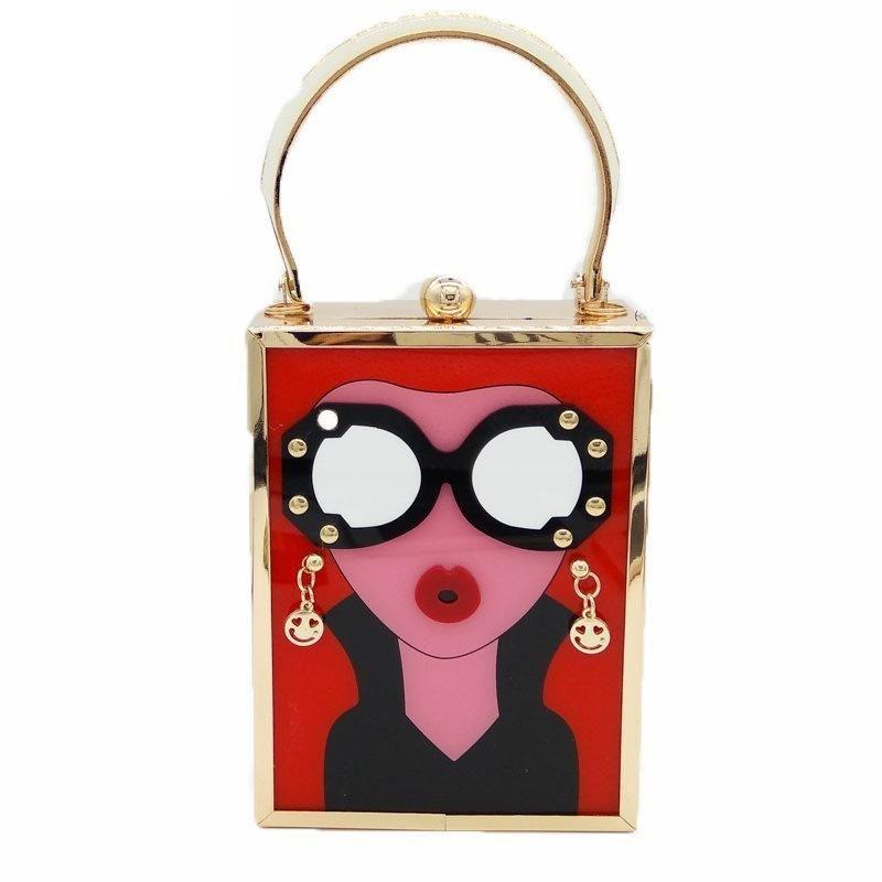 New fashion acrylic bag women pattern handbag chain bag wholesale NHJU200604