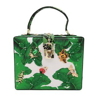 New Fashion Banana Leaf Small Square Bag Insect Handbag Box Printing Dinner Bag NHJU200605's discount tags