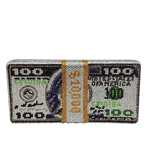 Bolso de mujer de moda nuevo rhinestone de moda USD bolso de embrague bolso de banquete de dólar estadounidense bolso de fiesta NHJU200610