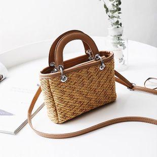 New straw bag ladies beach bag hit color portable small square bag shoulder messenger bag NHGA200614's discount tags
