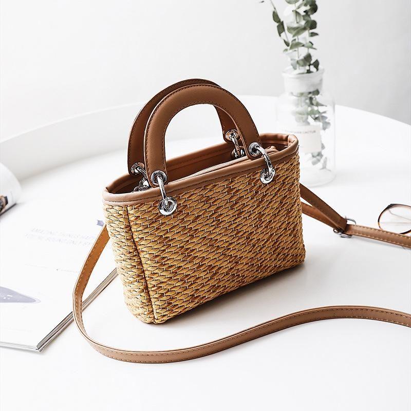 New straw bag ladies beach bag hit color portable small square bag shoulder messenger bag NHGA200614
