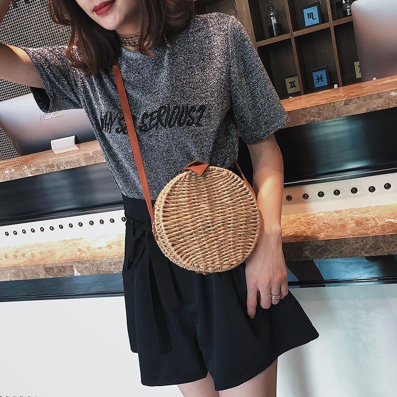 Summer straw bag small bag new wave woven shoulder small round bag Korean retro Messenger bag NHGA200618