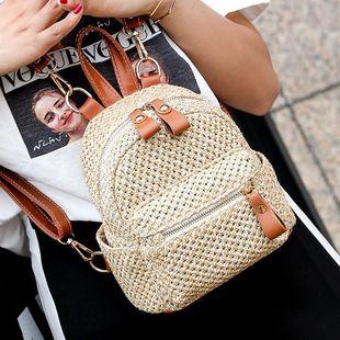 Straw bag mini backpack new Korean fashion woven backpack casual small bag women NHGA200620's discount tags