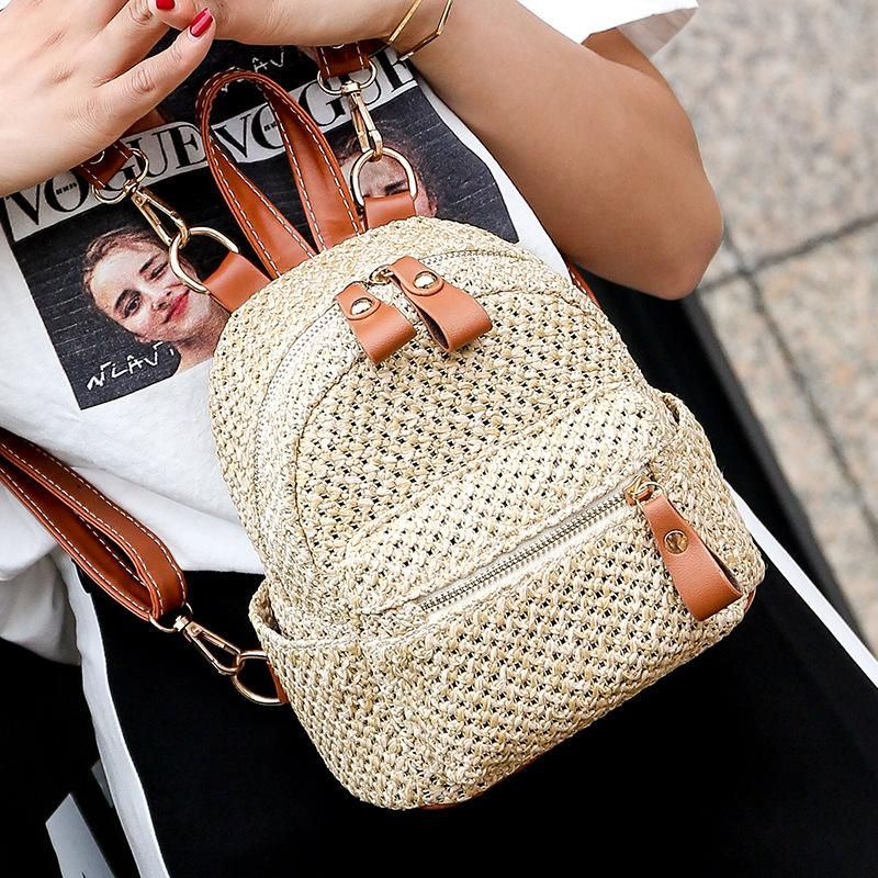 Straw bag mini backpack new Korean fashion woven backpack casual small bag women NHGA200620