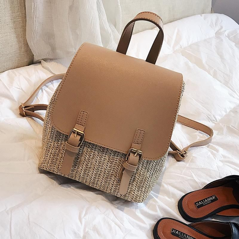 Straw backpack summer new women's bag leisure college style small backpack Korean retro vacation beach bag NHGA200621