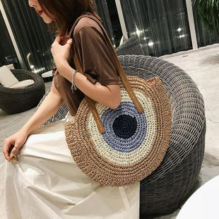 New summer woven bag simple lightweight round shoulder woven bag beach bag wholesale NHGA200623's discount tags