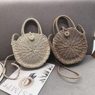 Retro Round Bag Straw Women's Bag Crossbody Bag Weaving New Literary Beach Bag NHGA200624's discount tags